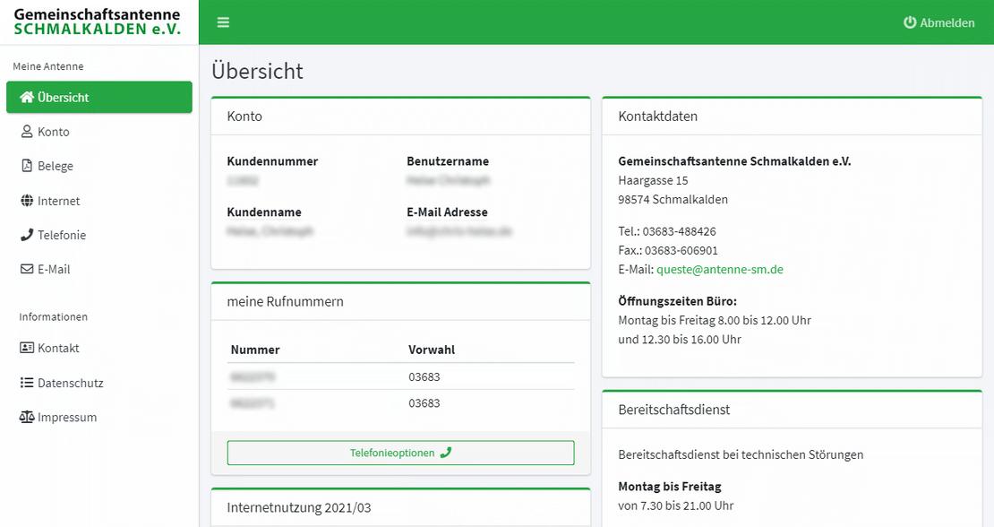 Screenshot kundencenter.antenne-schmalkalden.de
